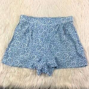 Frenchi Blue Floral High Waist Pull On Shorts